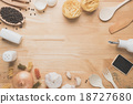 kitchen utensils on wooden table from above 18727680