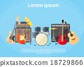 Musical Instruments Set Guitar Drums Rock Band  18729866