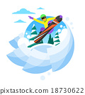 Snowboarder Sliding Down Hill, Man Snowboarding 18730622