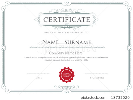 Certificate Border Vector Elegant Template Stock Illustration