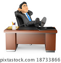 3D Businessman resting in office 18733866