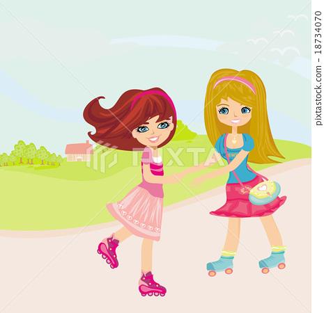 Cute little girls ride on rollers 18734070