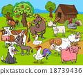 farm animals group cartoon 18739436