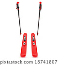 Skiing red, ski poles, front view 18741807