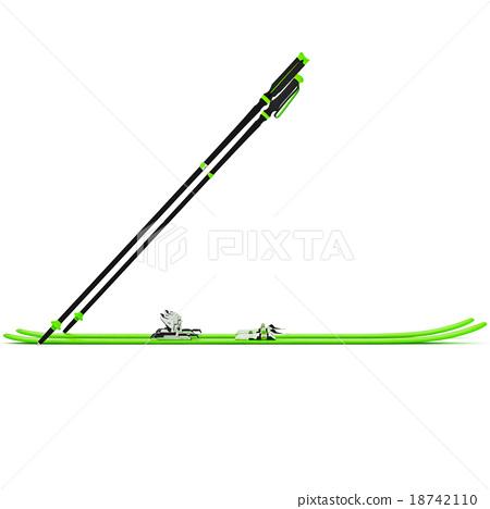 Sports skiing green ski poles, side view 18742110
