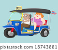 TUK-TUK Thailand Taxi with Driver and Passenger 18743881