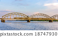 Train on a bridge in Riga, Latvia 18747930