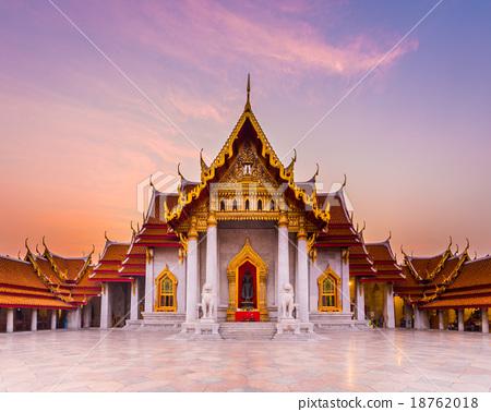 Stock Photo: The famous marble temple Benchamabophit from Bangkok, Thailand