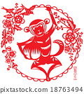 Monkey illustration in Chinese paper cut style 18763494