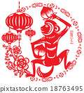 Monkey illustration in Chinese paper cut style 18763495