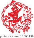 Monkey illustration in Chinese paper cut style 18763496