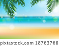 Summer time at the beach with coconut leaf on top 18763768