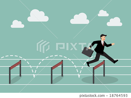 Businessman jumping over hurdle 18764593