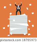 Businessman celebrating on a lot of documents 18765973