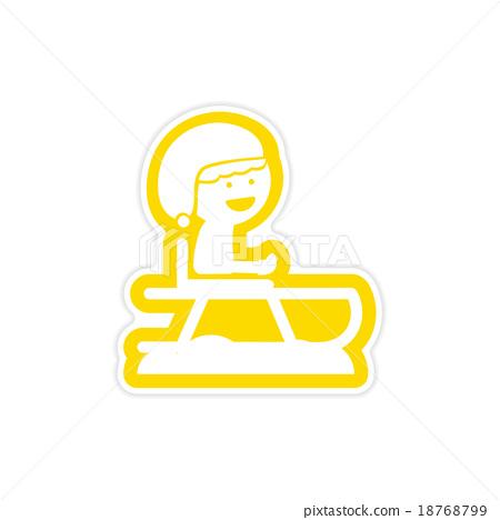 paper sticker on white background child sledding 18768799