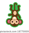 flat icon with long shadow funny monkey 18770009