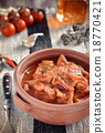 Tripe soup with tomatoes. Selective focus 18770421