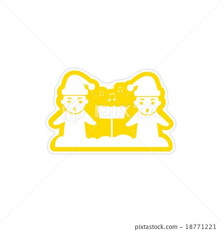 paper sticker on white background children sing 18771221