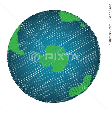 Earth Sketch Hand Draw Focus Antarctica Continent 18771382