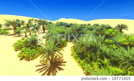 African Oasis On Sahara Stock Illustration 18771820 Pixta