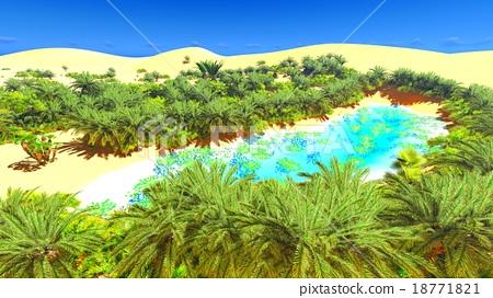 African Oasis On Sahara Stock Illustration 18771821 Pixta