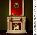 Christmas night interior with fireplace 3d 18772904