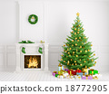 Classic interior with christmas tree fireplace 3d  18772905