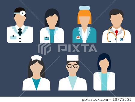 Doctors and nurses avatar flat icons 18775353