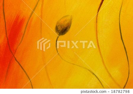 poppy painting on orange background. Poppy  Flower 18782798