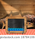 Blackboard Fish Shaped with Fishing Nets 18784106