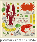 Menu cancer, shrimp, crab, mussels, lemon 18788562