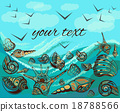 Greeting card seascape birds, waves, seashells 18788566