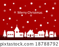 merry christmas background with snow and houses 18788792