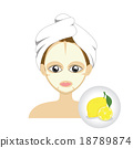 Vector of girl facial mask with lemon mask  18789874