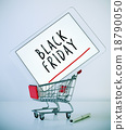 tablet with text black friday in a shopping cart 18790050