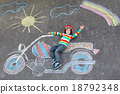 Little kid boy in helmet with motorcycle chalks 18792348