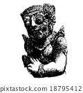 Balinese Giant hand drawn ,Gardian statue 18795412