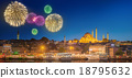 istanbul, cityscape, fireworks 18795632