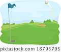 Flying Golf Ball Shot Hole 18795795