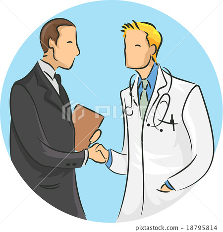 Man Doctor Shaking Hands Pharmaceutical Rep 18795814