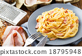Pasta carbonara on a plate 18795948