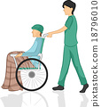 Man Nurse Pushing Patient Wheelchair 18796010
