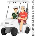 Senior Man Grandson Golf Cart 18796025