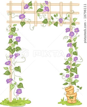 Garden Trellis Floral Vines 18796111