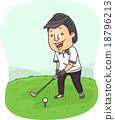 golf, illustration, man 18796213