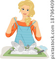 Girl Dish Washer Putting Apron On 18796409
