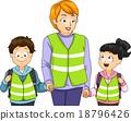 School Kids Teacher Walking Bus 18796426