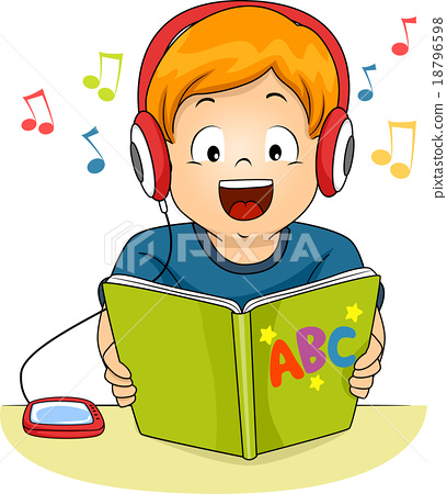 kid boy audio book story read listen stock illustration Girl Clip Art Clip Art