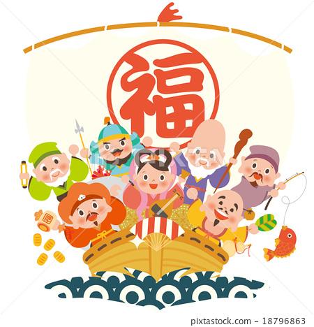 the seven deities of good fortune, vector, vectors 18796863