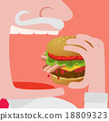 Man eating a Big hamburger vector comic 18809323